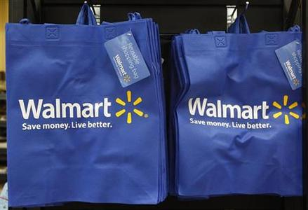 Re-useable Walmart bags are seen in a newly opened Walmart Neighborhood Market in Chicago September 21, 2011. REUTERS/Jim Young