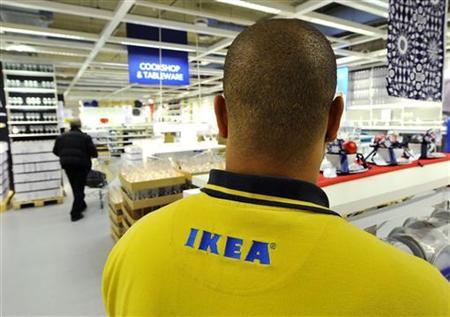 An Ikea employee works at the Wembley branch of the Swedish international furniture and home accessories company in west London October 15, 2010. REUTERS/Toby Melville