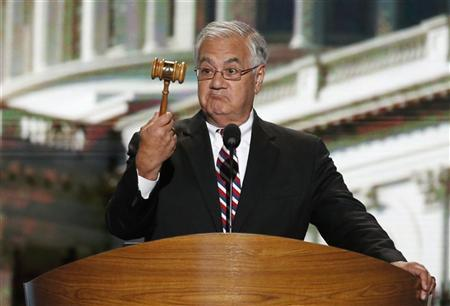 U.S. Rep. Barney Frank (D-MA) holds the gavel during the final session of the Democratic National Convention in Charlotte, North Carolina September 6, 2012. REUTERS/Jason Reed