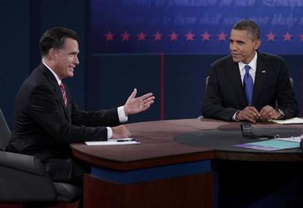 U.S. Republican presidential nominee Mitt Romney (L) answers a question as U.S. President Barack Obama listens during the final U.S. presidential debate in Boca Raton, Florida October 22, 2012. REUTERS/Scott Audette