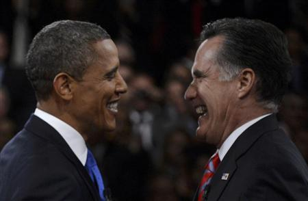 U.S. President Barack Obama (L) greets Republican presidential nominee Mitt Romney following the final U.S. presidential debate in Boca Raton, Florida October 22, 2012. REUTERS/Michael Reynolds/Pool