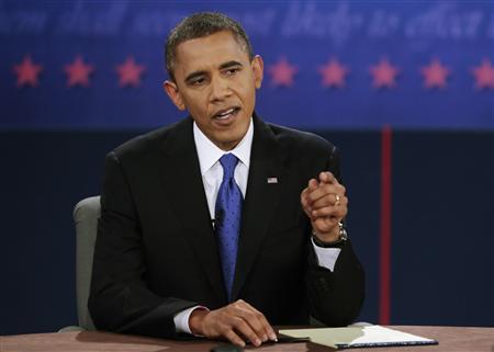 U.S. President Barack Obama makes a point during the final U.S. presidential debate in Boca Raton, Florida, October 22, 2012. REUTERS/Scott Audette