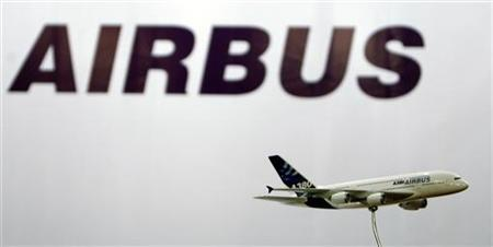 A miniature replica of Airbus A380 is seen in front of Airbus logo. REUTERS/Arko Datta
