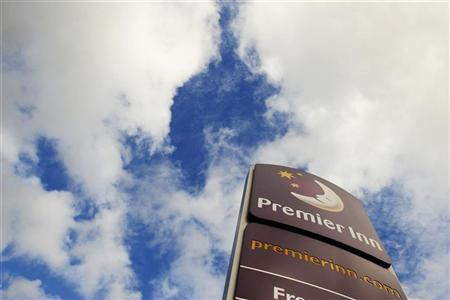 A Premier Inn sign is seen in Leeds, northern England, October 13, 2008. REUTERS/Nigel Roddis