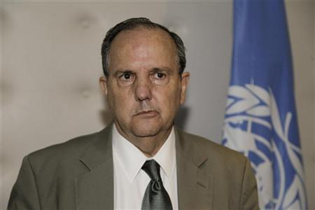 UN Special Rapporteur on torture for the United Nations Juan Mendez speaks during a news conference in Rabat September 22, 2012, after his week-long visit to Morocco where he visited the former political prisoners belonging to a banned Islamist party and Moroccan ministers. REUTERS/Stringer