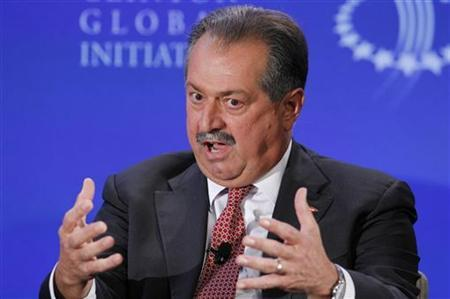 Andrew Liveris, Chairman and CEO of the Dow Chemical Company, participates in a group discussion during the second day of the Clinton Global Initiative 2012 (CGI) in New York on September 24, 2012. REUTERS/Lucas Jackson