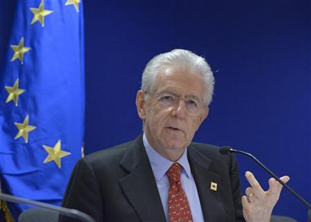 Italy's Prime Minister Mario Monti attends a news conference at the end of the second session of a two-day European Union leaders summit in Brussels October 19, 2012. REUTERS/Eric Vidal
