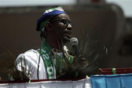 Former anti-corruption chief Nuhu Ribadu speaks during the flag-off of the ACN governorship campaign in Lagos March 5, 2011. REUTERS/Akintunde Akinleye