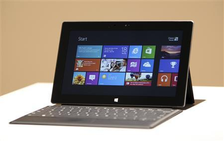 The new Surface tablet computer by Microsoft is displayed at its unveiling in Los Angeles, California, in this June 18, 2012 file photo. REUTERS/David McNew/Files