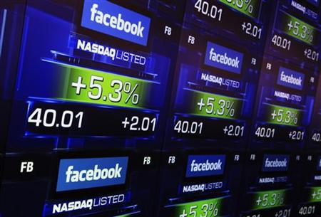 Facebook's share prices are seen inside the NASDAQ Marketsite in New York May 18, 2012. REUTERS/Shannon Stapleton