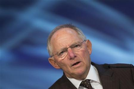German Finance Minister Wolfgang Schaeuble delivers a speech at the German Engineering Conference (Deutscher Maschinenbau Gipfel) in Berlin, October 23, 2012. REUTERS/Thomas Peter
