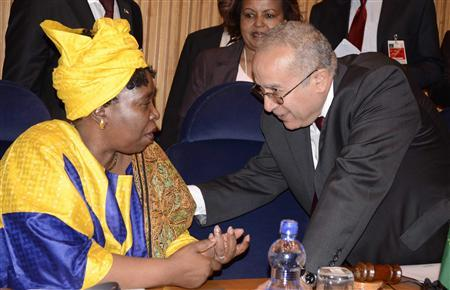 African Union Chief Nkosazana Dlamini-Zuma (L) talks to Ramtane Lamamra, the African Union (AU) Commissioner for Peace and Security before the peace and security council meeting on the situation of Sudan, South Sudan and Mali at African Union headquarters in Ethiopia's capital Addis Ababa, October 24, 2012. REUTERS/Tiksa Negeri
