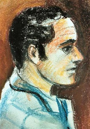 This artist rendering shows Ahmed Ressam, an Algerian man who was arrested transporting bomb-making materials from Victoria, B.C. into Port Angeles, Washington in December 1999, during his arraignment at the Federal Courthouse in Seattle. REUTERS/Files