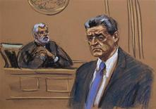 A courtroom sketch shows former Goldman Sachs Group Inc board member Rajat Gupta during his sentencing hearing at Manhattan Federal Court in New York, October 24, 2012. REUTERS/Jane Rosenberg