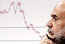 Глава ФРС США Бен Бернанке слушает вопросы об уровне инфляции на Капитолийском холме в Вашингтоне, 27 апреля 2006 года. Федеральная резервная система США пообещала скупать обеспеченные ипотекой ценные бумаги в объеме $40 миллиардов в месяц до тех пор, пока прогноз для рынка труда не продемонстрирует значительного улучшения, а также удерживать ключевую процентную ставку на крайне низком уровне как минимум до середины 2015 года. REUTERS/Jim Young