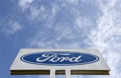 The logo of Ford Motor Co is seen at the company's assembly plant after an emergency meeting with the plant management in Genk October 24, 2012. REUTERS/Francois Lenoir (BELGIUM - Tags: TRANSPORT BUSINESS EMPLOYMENT LOGO)