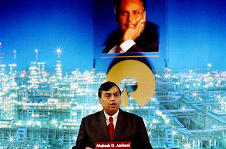 Reliance Industries Ltd. Chairman Mukesh Ambani addresses shareholders during an annual general meeting in Bombay August 3, 2005. REUTERS/Punit Paranjpe/Files