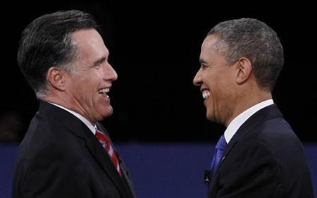 Republican presidential nominee Mitt Romney (L) and U.S. President Barack Obama shake hands at the conclusion of the final U.S. presidential debate in Boca Raton, Florida, October 22, 2012. REUTERS/Jason Reed