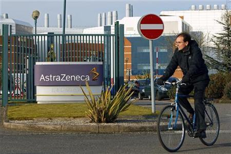 A worker leaves the AstraZeneca research facility in Loughborough, March 2, 2010. REUTERS/Darren Staples