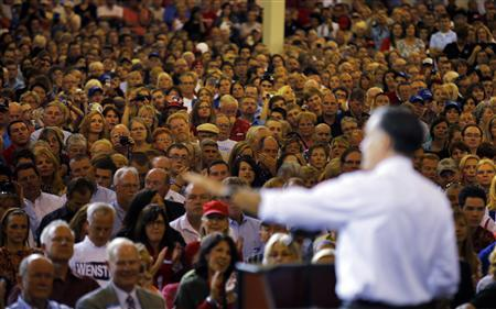 U.S. Republican presidential nominee Mitt Romney speaks during a campaign stop at Jet Machine in Cincinnati, Ohio October 25, 2012. REUTERS/Brian Snyder