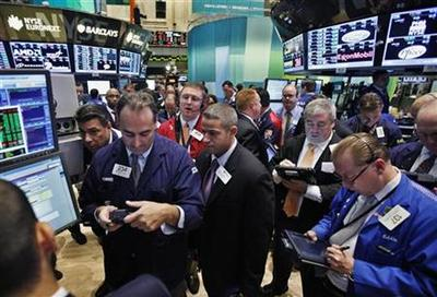 Wall Street manages slim gain, Apple falls after...