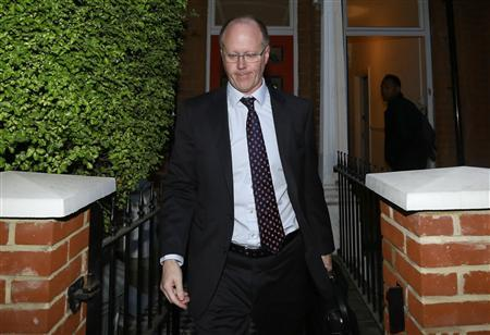 BBC director-general George Entwistle leaves his home in south London October 26, 2012. British police investigating alleged sexual abuse by one of the BBC's most celebrated TV stars said some 300 victims had come forward and they were preparing to make arrests in a scandal that has thrown the broadcaster into disarray. REUTERS/Olivia Harris