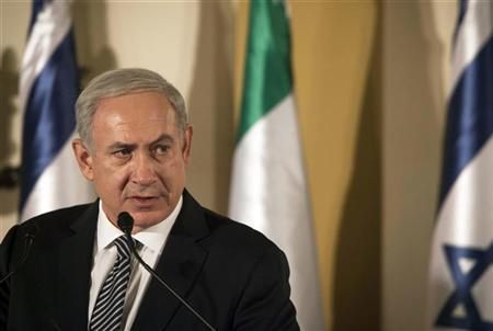 Israel's Prime Minister Benjamin Netanyahu speaks during a joint news conference with his Italian counterpart Mario Monti (not pictured) in Jerusalem October 25, 2012. REUTERS/Dan Balilty/Pool