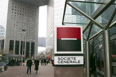 View of Societe Generale bank's headquarters in La Defense near Paris February 16, 2012. Societe Generale, France's second-biggest listed bank, warned of more pain in 2012 after a grim quarter hit by another writedown on Greek debt and a loss at its investment bank, where traders' bonuses are being halved. REUTERS/Charles Platiau