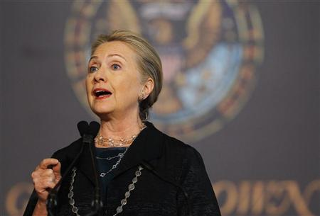 United States Secretary of State Hillary Clinton delivers her speech ''Energy Diplomacy in the 21st Century'' at Georgetown University in Washington October 18, 2012. REUTERS/Gary Cameron