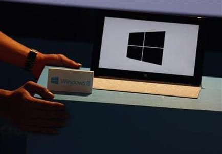A Microsoft Surface tablet is seen during the launch of Microsoft Windows 8 operating system in Hong Kong October 26, 2012. Microsoft launched its new Windows 8 operating system and Surface tablet in a bid to revive interest in its flagship product. REUTERS/Bobby Yip
