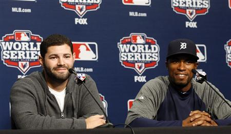Detroit Tigers catcher Alex Avila (L) and outfielder Austin Jackson talk with the media during a news conference at Comerica Park in Detroit, Michigan October 26, 2012. REUTERS/Rebecca Cook