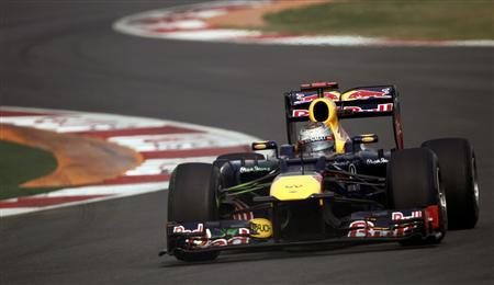 Red Bull Formula One driver Sebastian Vettel of Germany drives during the third practice session of the Indian F1 Grand Prix at the Buddh International Circuit in Greater Noida, on the outskirts of New Delhi, October 27, 2012. REUTERS/Adnan Abidi