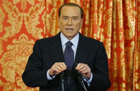 Italy's former Prime Minister Silvio Berlusconi speaks during a news conference at Villa Gernetto in Gerno near Milan October 27, 2012. Berlusconi appeared to have done an about-face on Saturday, vowing to stay in front-line Italian politics after a Milan court sentenced him to four years in jail for tax fraud related to his media empire. REUTERS/Alessandro Garofalo