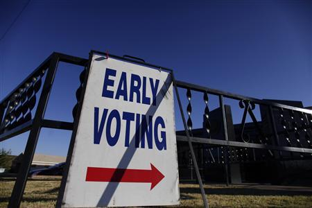 A voting sign is displayed outside the Gila County Recorders office during early voting in Globe, Arizona October 26, 2012. Election Day is November 6. REUTERS/Joshua Lott