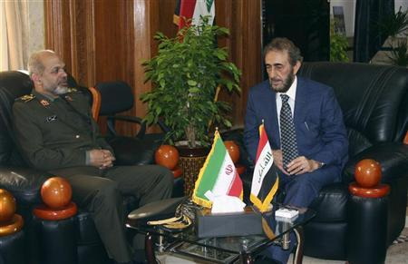 Iranian Defence Minister General Ahmad Vahidi (L) meets with Iraqi acting Defence Minister Saadoun al-Dulaimi in Baghdad, October 3, 2012. REUTERS/Stringer