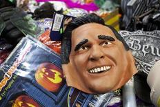 A Mitt Romney mask is seen in Halloween Headquarters, a Halloween supply store, in New York, October 27, 2012. REUTERS/Andrew Burton