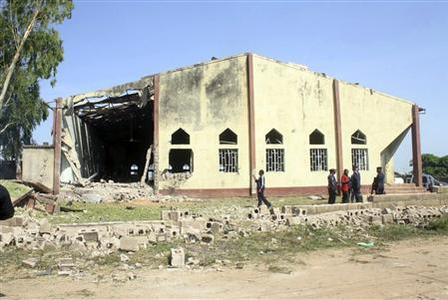 A view shows St. Rita's Catholic church in the Malali village, after a bomb attack, in Nigeria's northern city of Kaduna October 28, 2012. A suicide bomber drove a vehicle packed with explosives into a Catholic church in northern Nigeria on Sunday, killing at least three people and triggering reprisal attacks that killed at least two more, witnesses and police said. REUTERS/Stringer