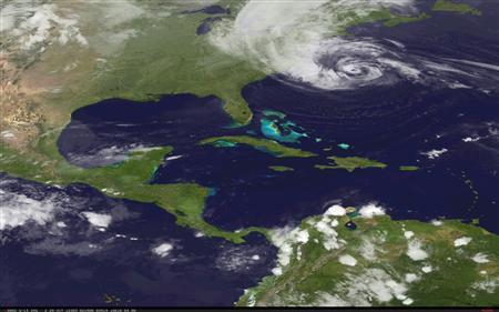 Hurricane Sandy is pictured off the east coast of the United States in this October 28, 2012 NASA handout satellite image. REUTERS/NASA/Handout