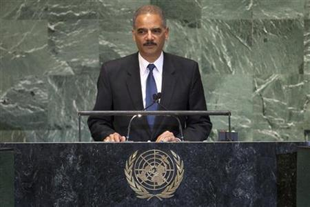 U.S. Attorney General Eric Holder addresses diplomats during the 67th United Nations General Assembly at the U.N. Headquarters in New York, September 24, 2012. REUTERS/Eduardo Munoz