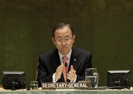 U.N. Secretary General Ban Ki-moon opens the high-level meeting on countering nuclear terrorism on the sidelines of the 67th United Nations General Assembly at the U.N. headquarters in New York September 28, 2012. REUTERS/Brendan McDermid