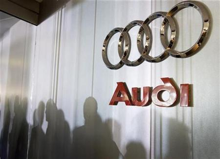 Audi logo sign is seen inside the lobby at the U.S. headquarters building of the Volkswagen Group of America in Herndon, Virginia, September 18, 2008. REUTERS/Larry Downing