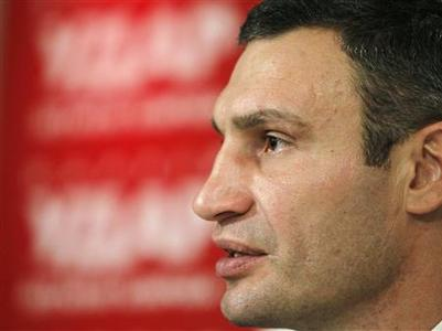 Heavyweight boxing champion and UDAR (Punch) party leader Vitaly Klitschko attends a news conference at his party's election headquarters in Kiev October 29, 2012. REUTERS/Gleb Garanich