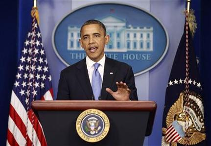 U.S. President Barack Obama delivers a statement on the Hurricane Sandy situation from the press briefing room of the White House in Washington, October 29, 2012. REUTERS/Jason Reed