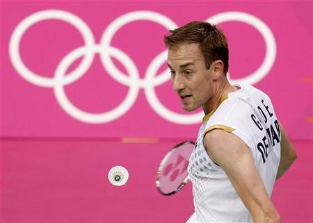 Denmark's Peter Gade plays against China's Long Chen during their mens singles badminton quarterfinals match during the London 2012 Olympic Games at the Wembley Arena August 2, 2012. REUTERS/Bazuki Muhammad