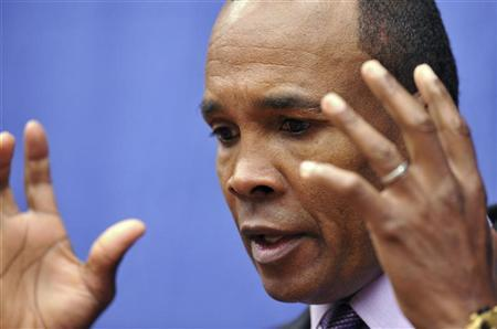 Former world champion boxer and gold medalist Sugar Ray Leonard speaks with the press about being the victim of child sexual abuse at the National Conference on Child Sexual Abuse in State College, Pennsylvania, October 29, 2012. REUTERS/Pat Little