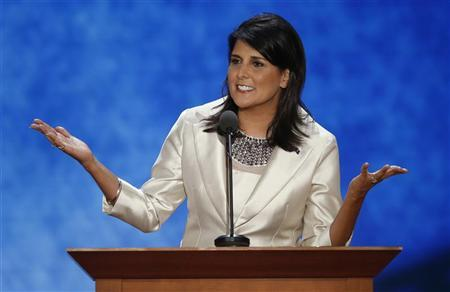 South Carolina Governor Nikki Haley addresses the second session of the Republican National Convention in Tampa, Florida August 28, 2012. REUTERS/Mike Segar