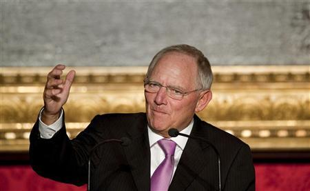 German Finance Minister Wolfgang Schaeuble delivers a speech during the award ceremony of the M100 media prize in Potsdam, September 6, 2012. REUTERS/Klaus-Dietmar Gabbert/Pool