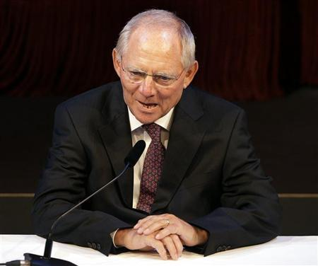 German Finance Minister Wolfgang Schaeuble speaks during a reception to celebrate his 70th birthday in Berlin, September 26, 2012. REUTERS/Michael Sohn/Pool