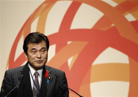 Japan's Finance Minister Koriki Jojima speaks during the closing session of the Sendai Dialogue, a disaster risk management meeting in Sendai, northern Japan October 10, 2012. REUTERS/Yuriko Nakao