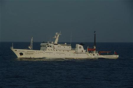 A Chinese marine surveillance ship cruises in waters about 28 km (17 miles) northwest of one of the disputed islands called Senkaku in Japan and Diaoyu in China, in the East China Sea, in this handout photo released by Japan Coast Guard's 11th Regional Coast Guard headquarters October 25, 2012. REUTERS/11th Regional Coast Guard Headquarters-Japan Coast Guard/Handout